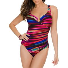 Miraclesuit Color Run Escape One-Piece (220 CAD) ❤ liked on Polyvore featuring swimwear, one-piece swimsuits, multi colored, strappy swimsuit, underwire bathing suits, underwire swimsuits, shirred one piece swimsuit and 1 piece bathing suits