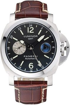 Mens Replica Panerai Luminor GMT Automatic Black Dial 440-grade Stainless Steel Case and Bezel Watch with Brown Leather Strap
