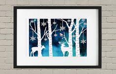 Woodland, Papercutting, Christmas Papercut, Winter Art, Red Robin, Wall Art, Wildlife Art, Art work, Paper Cutting Art, Winter Woodland