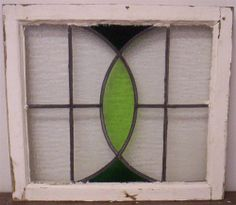 OLD ENGLISH LEADED STAINED GLASS WINDOW Green Curves Design