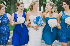Bold blue bridesmaid gowns in a range of styles