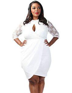 Women's+Plus+Size+Laced+Keyhole+Drape+Dress+–+GBP+£+13.93