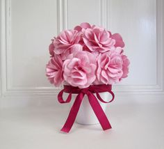 Pink and White Love Paper Rose Centerpiece. by PAPERFLORISTS,