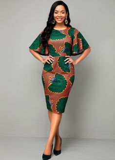 Round Neck Multi Color Ethnic Print Dress Buy it Now :D Short African Dresses, Latest African Fashion Dresses, African Print Dresses, Ankara Dress Styles, African Print Fashion, Africa Fashion, Nigerian Fashion, African Style Clothing, African Dress Styles