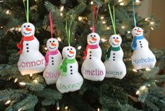 Puffy snowman personalized ornament Christmas by TheEmbroideryHill