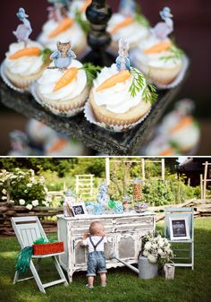 Gorgeous Peter Rabbit First Birthday {Garden Party}  Wortelcakes met leuke versiering
