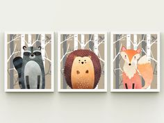 Nursery printable set of 3 wall art baby room decor raccoon fox and hedgehog in the forest child room art download, woodland playroom decor  PLEASE READ  Please note, this listing is for an INSTANT DOWNLOAD of DIGITAL FILES - no print will be mailed, this listing does not include a physical item. You can print these files at home on your own printer or take them to a print shop of your choice.  Fast, easy and affordable - no shipping or waiting necessary. Purchase, Print and Enjoy…