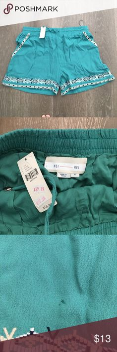 Anthropologie Hei Hei Green shorts Super cute drawstring shirts with embroidery at pockets.  Lined.  Small water 💦 mark near embroidery on right leg. NWT. Anthropologie Shorts