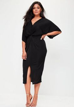 0bca9b1b185 Missguided Curve Slinky Kimono Midi Dress Black Plus Size Holiday Dresses
