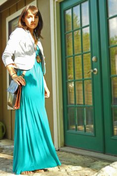 teal maxi dress and white jacket
