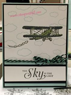 Stamps: The Sky is the limit Paper:Soft Sky & black Ink:Black, soft Sky Accessories: Bakers twine, marker for coloring