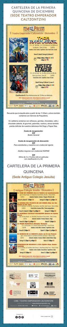 Cartelera de la primera quincena de Diciembre ¡Nos Vemos en el Cine!