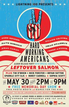 "Join us for a FREE Memorial Day block party at Acme Feed & Seed to celebrate the new Hard Working Americans record, ""Rest in Chaos."" Presented by Lightning the day will benefit Blood:Water! Monday, May 2 to 9 p. Todd Snider, Blood In Water, Tim O'brien, Americana Music, City O, Free Shows, Album Releases, Block Party"