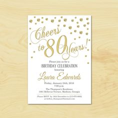80th Birthday Invitation Any Age Gold By TheStarDustFactory