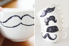 Movember Sharpie Mugs: Since we're in the middle of Movember, we felt compelled to included these mustachioed mugs into the mix. This DIY just begs the goofy question, which 'stache would you sip from?