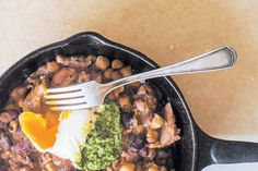 Cowboy beans recipe, Bite – Good quality freerange eggs and bacon are the secret to this simple meal - Eat Well (formerly Bite) Bean Recipes, Brunch Recipes, Cowboy Beans, Chipotle Pepper, Smoked Bacon, Salsa Verde, Poached Eggs, Coriander, Mashed Potatoes