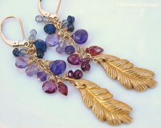 Amethyst Iolite Rhodolite Garnet  Miriam Haskell Gold Feather Earrings ~  Peacock Feather by Moonsnail Design Studio  https://www.etsy.com/listing/99415159/amethyst-earrings-gold-feather-earrings?ref=shop_home_active_14