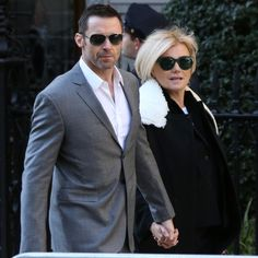 The positive: Hugh says his ever changing looks for different roles spice things up between the couple: 'It's like having an affair every few months. I always look different so it spices it up a bit' Having An Affair, Mullets, Love Couple, Hugh Jackman, Celebs, Celebrities, Celebrity Couples, Movie Stars, Suit Jacket
