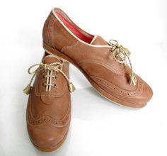Zapato oxford Francesa miel plataforma
