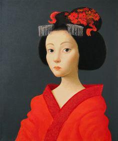 "Saatchi Online Artist: Ilir Pojani; Oil, 2010, Painting ""Geisha in red dress"""