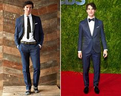 Darren Criss arrives at the 2015 Tony Awards, New York City, June 7, 2015  There was a lot of blue on the men of the Tonys this year, but Darren stood out from the pack in an impeccably tailored jewel toned tux featuring a tonal variant lapel, tux stripe, and elbow patches. He tends to favor a slight fashionably quirky and hip twist on the standard for events, and this certainly fits the bill to a T.   Michael Bastian Spring 2015 Menswear Navy Tuxedo  Worn with: Christian Louboutin shoes