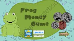 Frog Money Game - Smartboard Lesson from The Techie Chick on TeachersNotebook.com (4 pages)  - This interactive Smartboard math file for Kindergarten through 4th grade is a versatile money game utilizing a game board. The teacher can opt for students to count money, write money values, add or subtract money, give change, or compare money amounts.