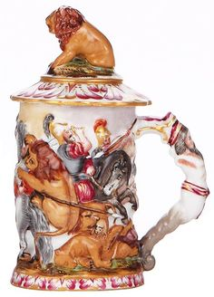 Porcelain stein, .3L, 6.8'' ht., marked N with crown, handpainted, Capo-di-Monte type, set-on lid, m