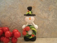Snowman and Christmas Wreath  Figurine by countrycupboardclay, $10.95