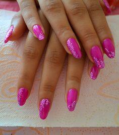 IBD Just gel polish.  Colour: Peony bouquet - using hexagon glitter decoration.