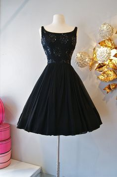 Black sequined 60's elegant dress