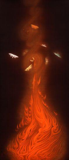 Dance of Flames (炎舞 Enbu), 1925 Gyoshū Hayami (速水 御舟 Hayami Gyoshū, Aug 1894 – Mar was a Japanese painter. Art Beat, Japanese Art Modern, Japanese Style, Japan Painting, Korean Art, Japan Art, Traditional Art, Art Pictures, Art Museum