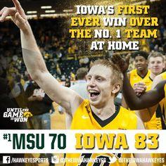 Iowa has won seven straight regular season Big Ten games dating back to last season. Iowa Hawkeye Basketball, Big Ten Football, Sports Basketball, College Basketball, Ten Games, Iowa Hawkeyes, University, Hawks, Season 12