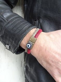 Men's Evil Eye Bracelet Snake Skin Leather and Bronze | Etsy Fathers Day Gifts, Valentine Day Gifts, Valentines, Fashion Bracelets, Fashion Jewelry, Red Jewelry, Evil Eye Bracelet, Snake Skin, Happy Shopping