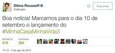 """Compromissos do governo Dilma ficam no gogó. """"Nesta quinta-feira (10), dia escolhido por Dilma, a solenidade pomposa virou uma reunião a portas fechadas com representantes de movimentos sociais e construtoras. A meta sumiu. Não há nem mesmo data para o início da nova fase."""""""