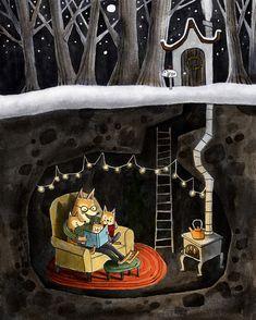 Deborah Hocking Winter Illustration, Children's Book Illustration, Ink Painting, Tole Painting, Whimsical Art, Cute Art, Illustrators, Folk Art, Fantasy Art