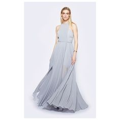 Pale Grey Valerie Dress ($279) ❤ liked on Polyvore featuring dresses, gowns, longpleatedmaxiplus size, pale grey, formal evening gowns, long pleated skirt, bridesmaid gown, formal dresses and sheer prom dresses