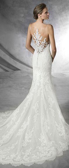 pronovias placia lace wedding dresses with delicate back designs