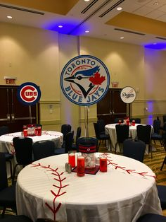 Sports themed Bar Mitzvah Centerpiece created with permission from the MLB Sports Themed Centerpieces, Baseball Centerpiece, Bar Mitzvah Centerpieces, Shell Centerpieces, Bat Mitzvah Themes, Bar Mitzvah Party, Bar Mitzvah Invitations, Fundraising, Banquet Ideas