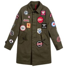 DSquared2 Khaki Green Badge Coat available @Childrensalon. #boys #green #coat #khaki