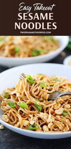 Healthy Takeout Sesame Noodles made with just a few pantry staples! This quick and easy family-friendly recipe is ready in just 20 minutes. It is also great served warm or cold. Save this lunch or dinner recipe for later! Quick Dinner Recipes, Lunch Recipes, Great Recipes, Vegetarian Recipes, Healthy Recipes, Simple Recipes, Family Recipes, Sesame Noodles, Chicken Pasta Recipes