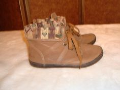 Blowfish Sz 10 Women's Malibu Brown Suede Leather & Tapestry Weave Ankle Boots #Blowfish #AnkleBoots