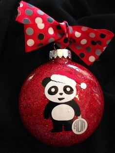 Panda Bear Painted Christmas Ornament by daniellesoriginals ...