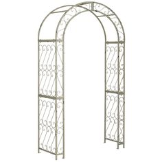 Imagine the entrance to a secret garden framed in a trellised antique white arch scented with the blossoms of climbing roses.