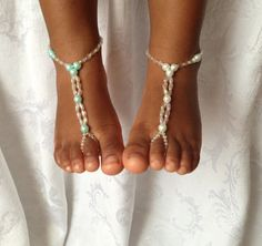 Pearl Baby Barefoot Sandals #footjewelry #pearl #baby @jewelrysight