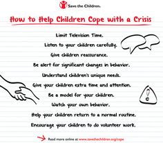 How to Help Children Cope with a Crisis Save the Children Opens Safe Space for Newtown Children, Offers 10 Tips to Help All Children Cope Grief Counseling, Crisis Intervention, Primary Teaching, Therapy Tools, Save The Children, Disaster Preparedness, School Psychology, Child Life, Frases