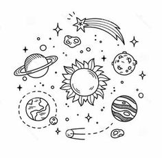Illustration about Hand drawn solar system with sun, planets, asteroids and other outer space objects. Cute and decorative doodle style line art. Illustration of cosmos, earth, illustration - 57339771 Space Drawings, Doodle Drawings, Doodle Art, Easy Drawings, Simple Cute Drawings, Doodle Frames, Tattoo Drawings, Simple Doodles, Cute Doodles