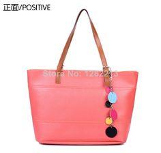 New Popular Candy Color Fashion Girls Shouler Bags Big PU Handbags Free Shipping $29.80