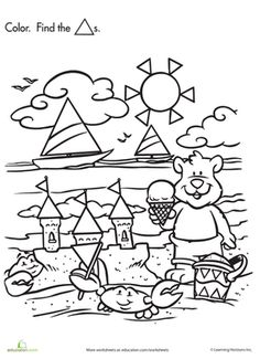 Summer Preschool Shapes Nature Worksheets: Shape Search: Baby Bear at the Beach