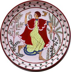 terracotta plate painted with an Etruscan dancer, inspired by ancient Etruscan frescoes. Hand painted - pinned by pin4etsy.com