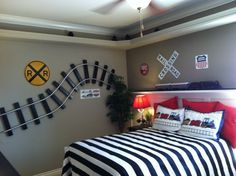 Train Bedroom Ideas. I love blue & white for a boys room & the train theme is cute. M loves trains!